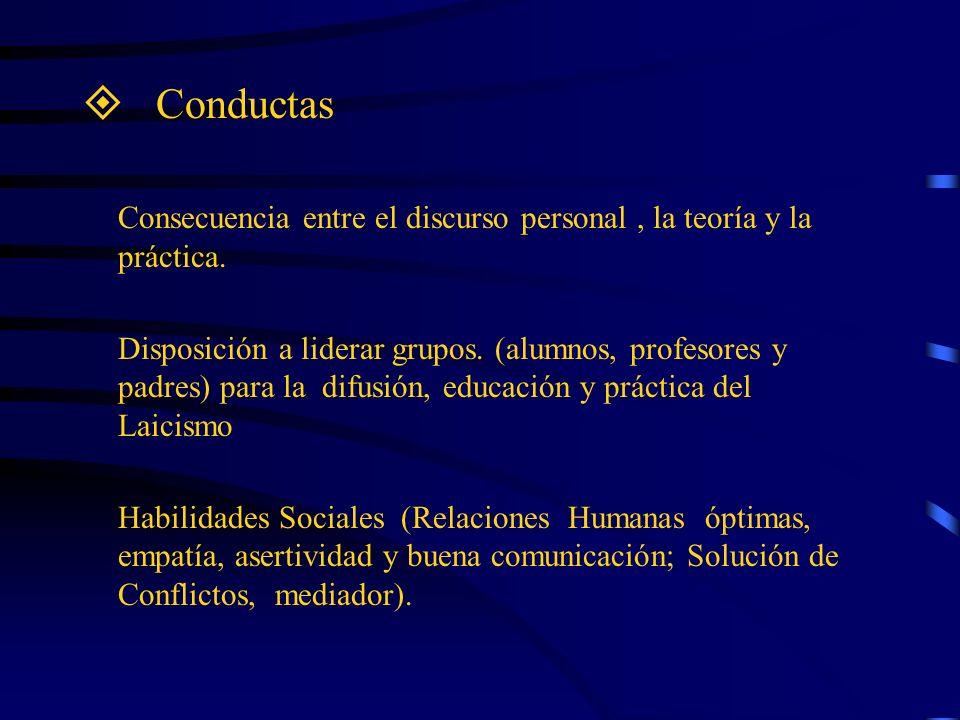 Conductas Consecuencia entre el discurso personal, la teoría y la práctica. Disposición a liderar grupos. (alumnos, profesores y padres) para la difus