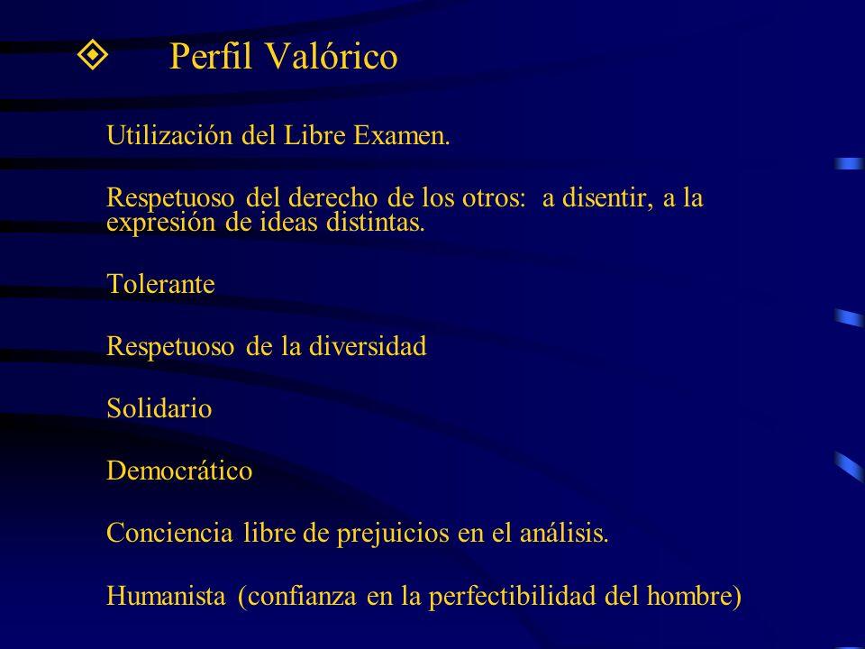 Perfil Valórico Utilización del Libre Examen. Respetuoso del derecho de los otros: a disentir, a la expresión de ideas distintas. Tolerante Respetuoso