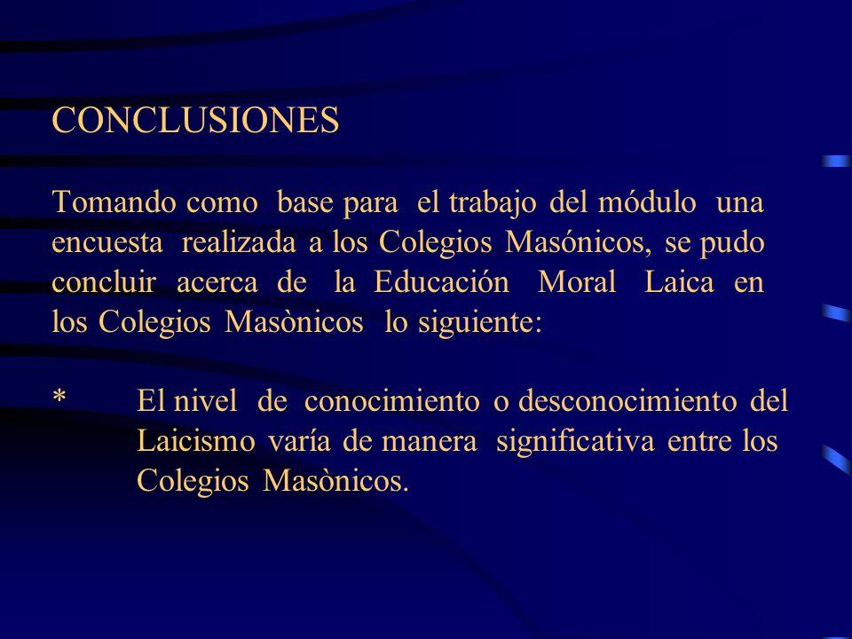*Acerca de los cursos de Moral Laica se concluye que es necesario implementar en todos o, a lo menos, en la mayoría de los Colegios la asignatura de Moral Laica.