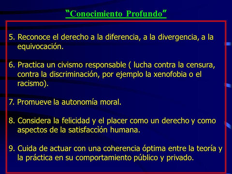 Conocimiento Profundo 5. Reconoce el derecho a la diferencia, a la divergencia, a la equivocación. 6. Practica un civismo responsable ( lucha contra l