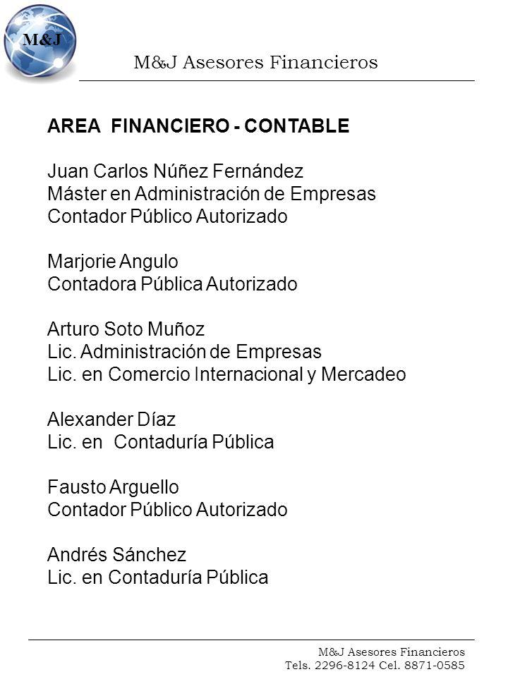 M&J Asesores Financieros Tels. 2296-8124 Cel. 8871-0585 M&J AREA FINANCIERO - CONTABLE Juan Carlos Núñez Fernández Máster en Administración de Empresa