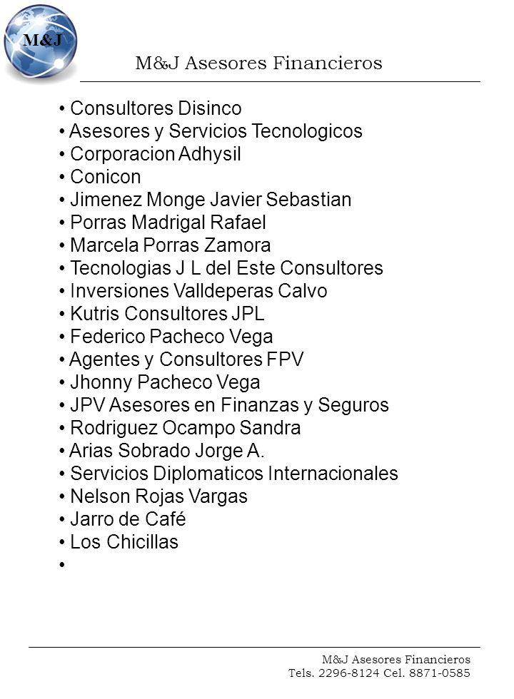 M&J Asesores Financieros Tels. 2296-8124 Cel. 8871-0585 M&J Consultores Disinco Asesores y Servicios Tecnologicos Corporacion Adhysil Conicon Jimenez