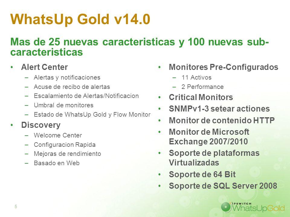 5 WhatsUp Gold v14.0 Alert Center –Alertas y notificaciones –Acuse de recibo de alertas –Escalamiento de Alertas/Notificacion –Umbral de monitores –Es