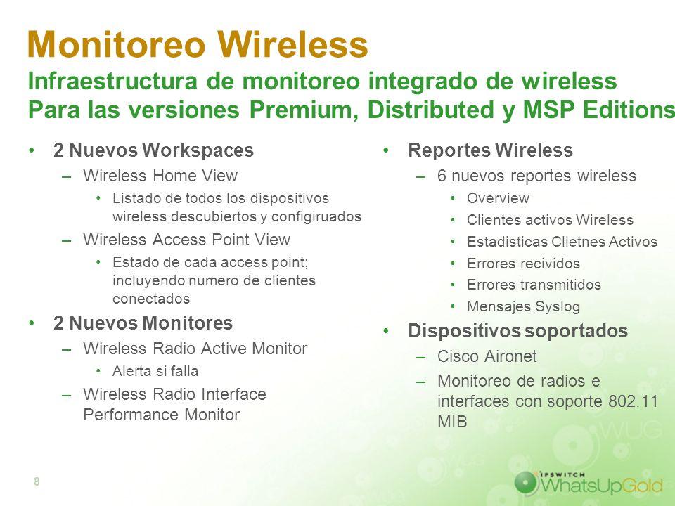 8 Monitoreo Wireless 2 Nuevos Workspaces –Wireless Home View Listado de todos los dispositivos wireless descubiertos y configiruados –Wireless Access