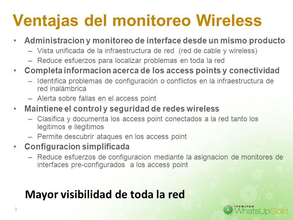 9 Ventajas del monitoreo Wireless Administracion y monitoreo de interface desde un mismo producto –Vista unificada de la infraestructura de red (red d