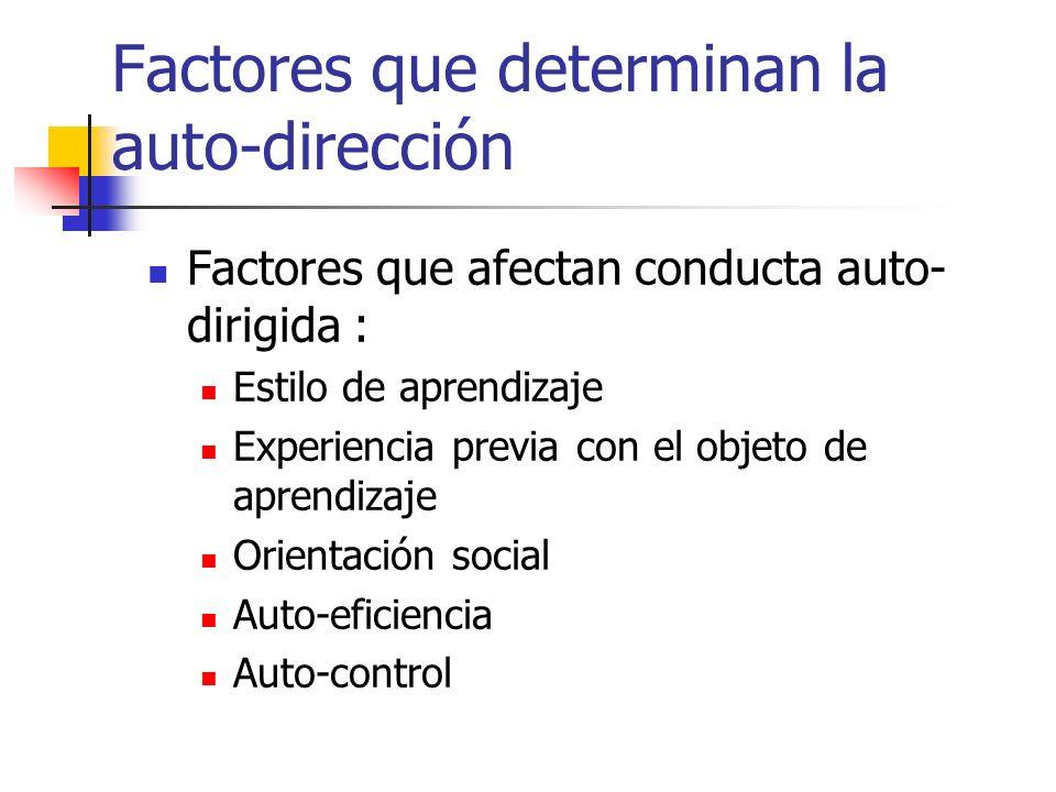 Factores que determinan la auto-dirección Factores que afectan conducta auto- dirigida : Estilo de aprendizaje Experiencia previa con el objeto de apr