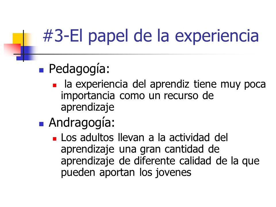 #3-El papel de la experiencia Pedagogía: la experiencia del aprendiz tiene muy poca importancia como un recurso de aprendizaje Andragogía: Los adultos