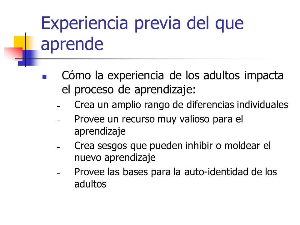 Experiencia previa del que aprende Cómo la experiencia de los adultos impacta el proceso de aprendizaje: – Crea un amplio rango de diferencias individ