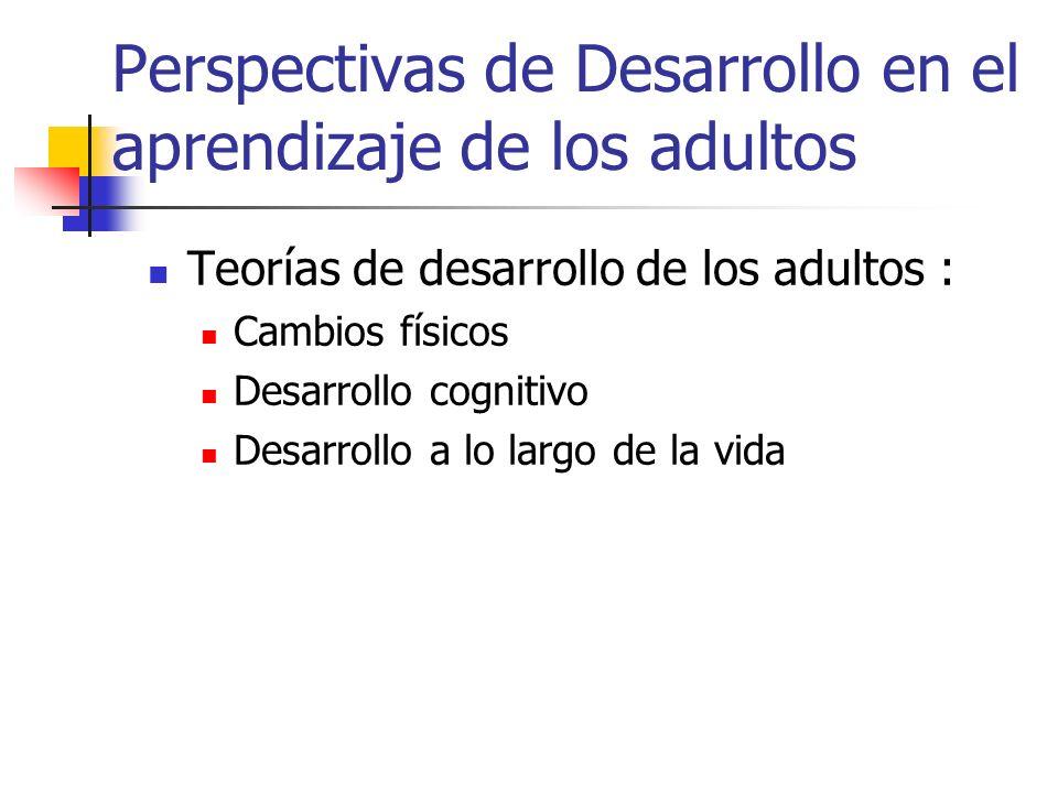 Perspectivas de Desarrollo en el aprendizaje de los adultos Teorías de desarrollo de los adultos : Cambios físicos Desarrollo cognitivo Desarrollo a l