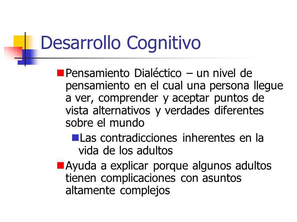 Desarrollo Cognitivo Pensamiento Dialéctico – un nivel de pensamiento en el cual una persona llegue a ver, comprender y aceptar puntos de vista altern