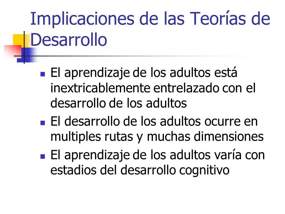 Implicaciones de las Teorías de Desarrollo El aprendizaje de los adultos está inextricablemente entrelazado con el desarrollo de los adultos El desarr