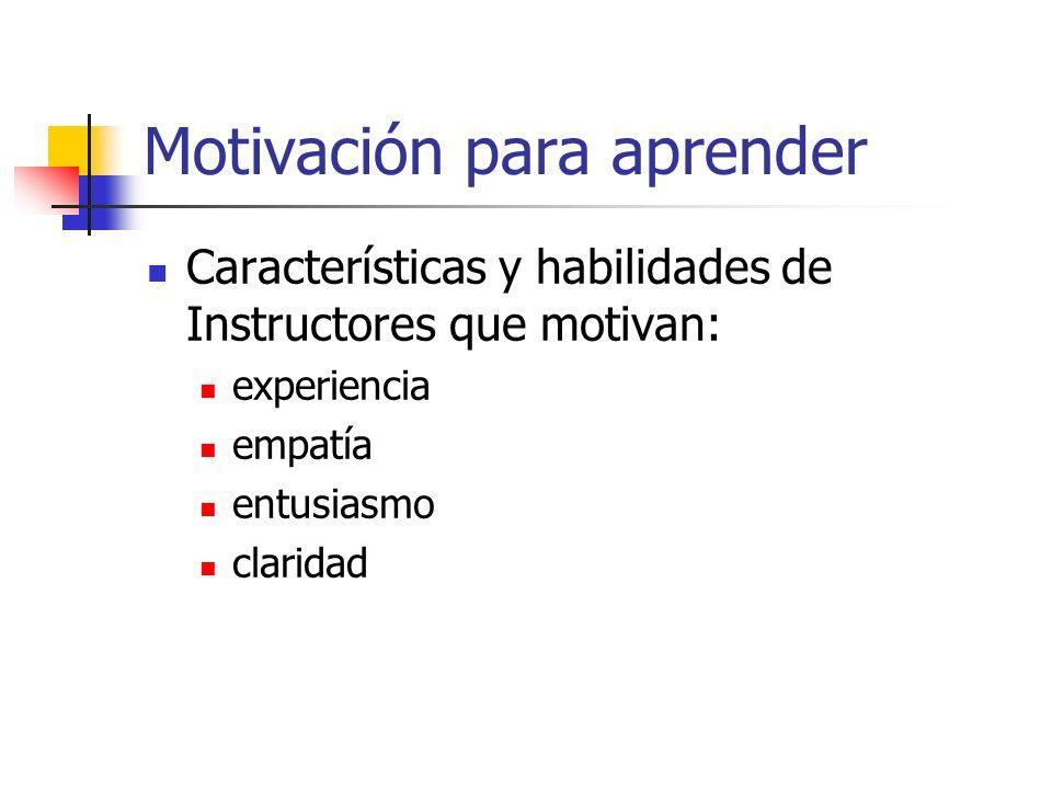 Motivación para aprender Características y habilidades de Instructores que motivan: experiencia empatía entusiasmo claridad