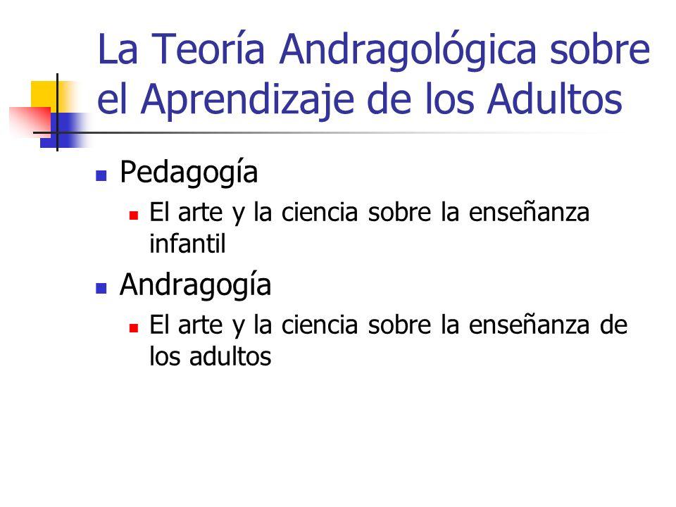 La Teoría Andragológica sobre el Aprendizaje de los Adultos Pedagogía El arte y la ciencia sobre la enseñanza infantil Andragogía El arte y la ciencia
