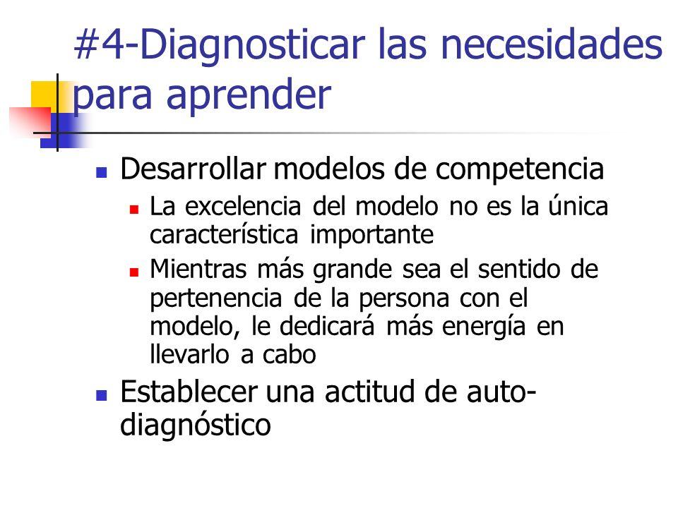 #4-Diagnosticar las necesidades para aprender Desarrollar modelos de competencia La excelencia del modelo no es la única característica importante Mie