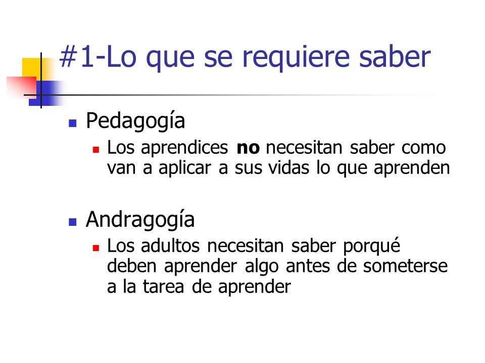 #1-Lo que se requiere saber Pedagogía Los aprendices no necesitan saber como van a aplicar a sus vidas lo que aprenden Andragogía Los adultos necesita