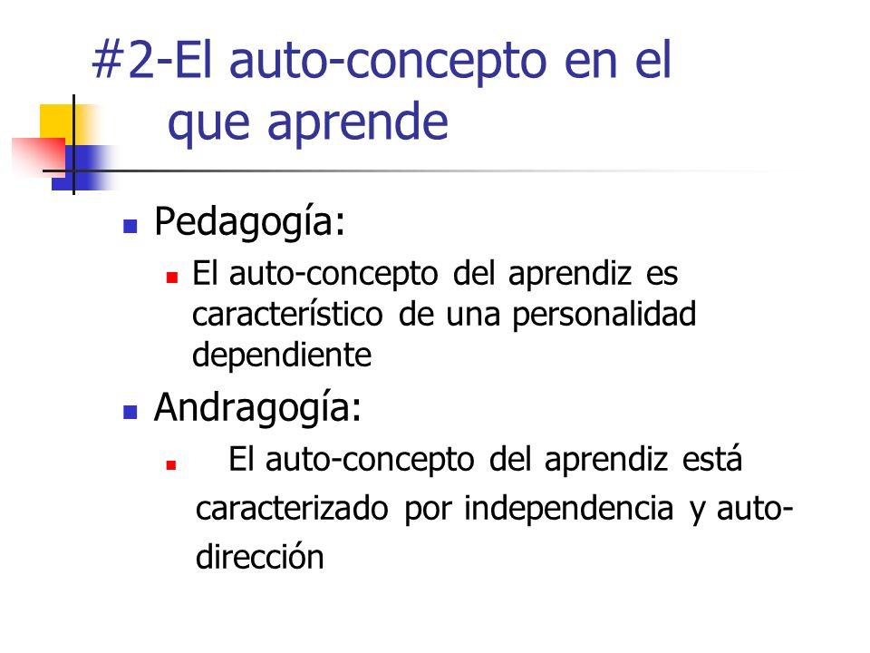 # 2-El auto-concepto en el que aprende Pedagogía: El auto-concepto del aprendiz es característico de una personalidad dependiente Andragogía: El auto-