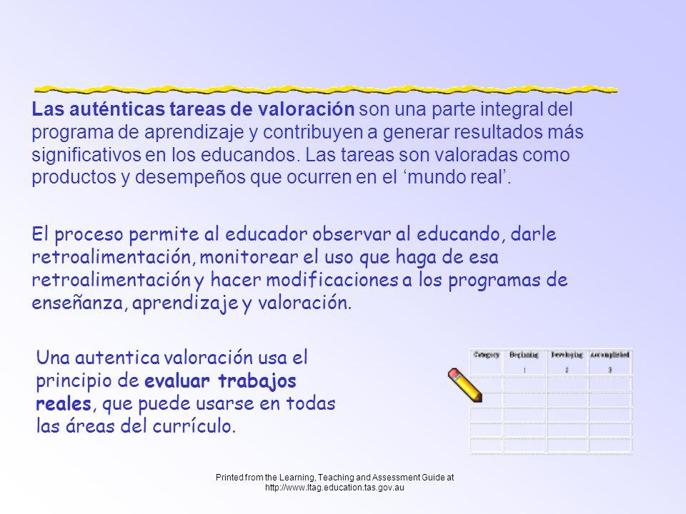 Printed from the Learning, Teaching and Assessment Guide at http://www.ltag.education.tas.gov.au Por tanto, la valoración formativa, borra las líneas entre enseñanza, aprendizaje y valoración.