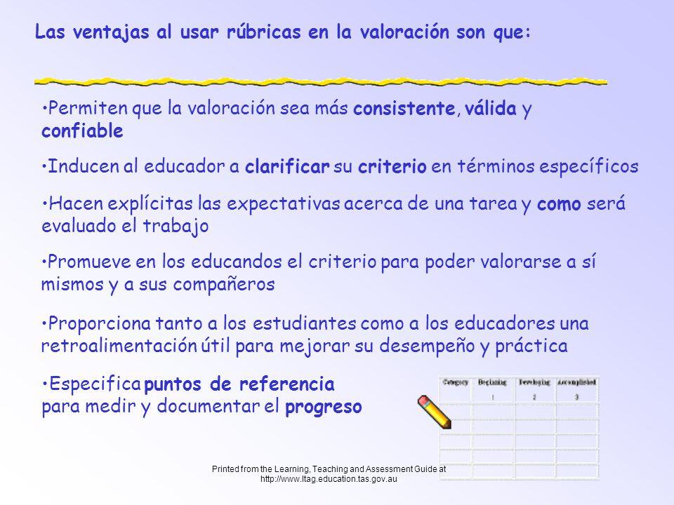 Printed from the Learning, Teaching and Assessment Guide at http://www.ltag.education.tas.gov.au Las rúbricas pueden ser creadas en una gran variedad de formas y niveles de complejidad, sin embargo, todas tienen las siguientes características que les son comunes: Se enfocan en medir objectivos establecidos (Desempeño.