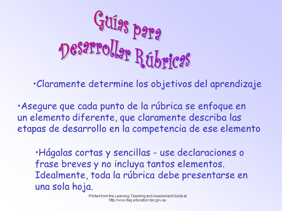 Printed from the Learning, Teaching and Assessment Guide at http://www.ltag.education.tas.gov.au Evalúe y refine la rúbrica ¿Funcionó.