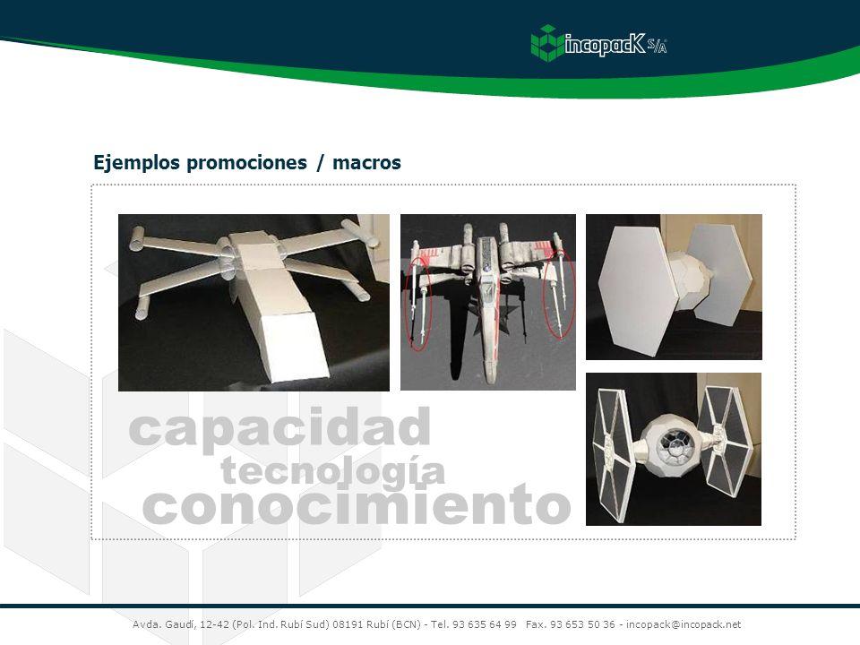 Avda. Gaudí, 12-42 (Pol. Ind. Rubí Sud) 08191 Rubí (BCN) - Tel. 93 635 64 99 Fax. 93 653 50 36 - incopack@incopack.net Ejemplos promociones / macros c