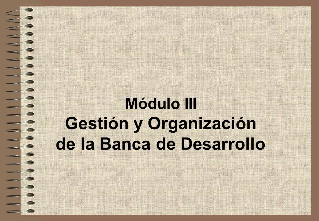 Módulo III Gestión y Organización de la Banca de Desarrollo