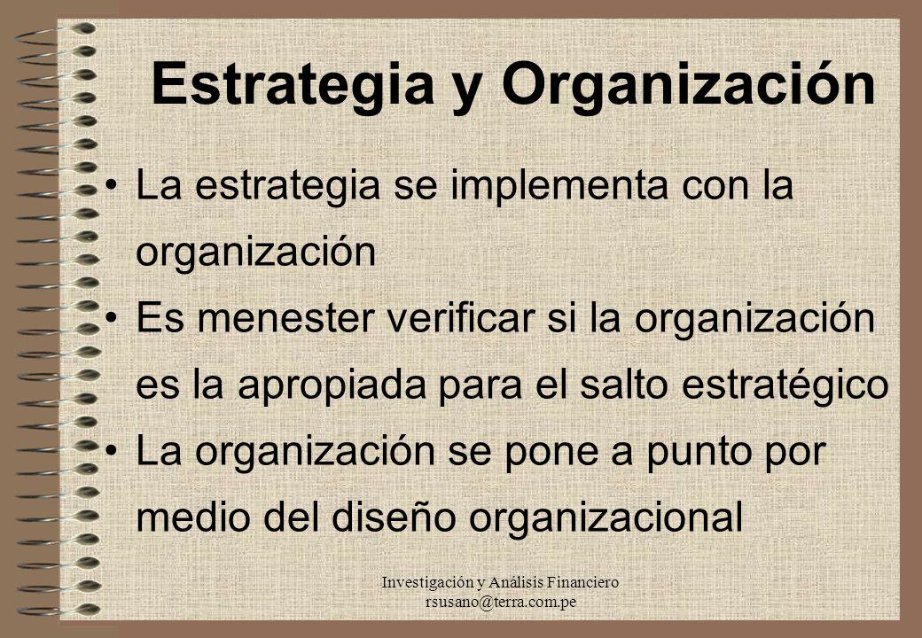 Investigación y Análisis Financiero rsusano@terra.com.pe Estrategia y Organización La estrategia se implementa con la organización Es menester verific