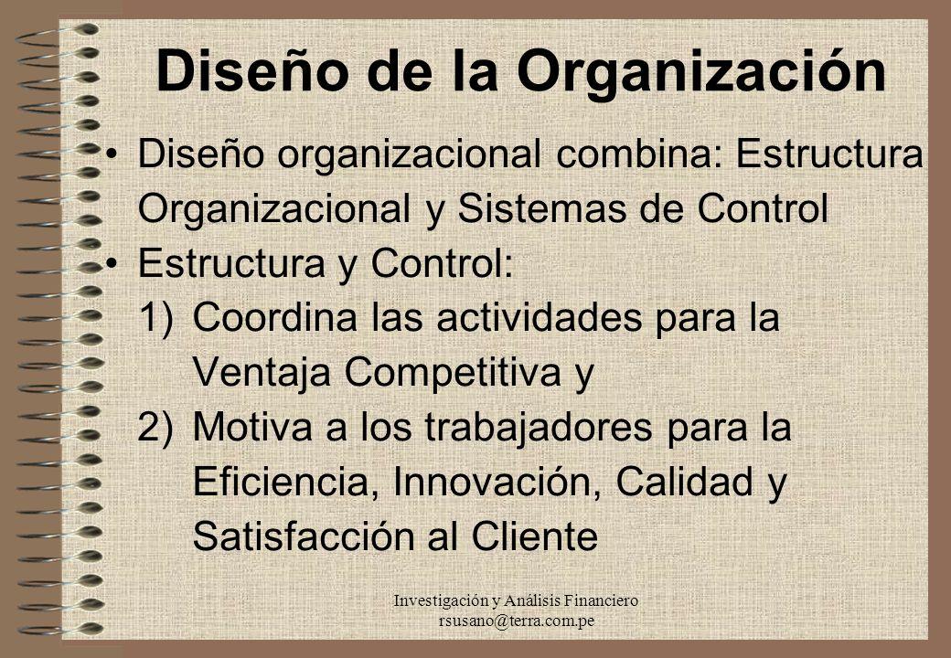 Investigación y Análisis Financiero rsusano@terra.com.pe Diseño de la Organización Diseño organizacional combina: Estructura Organizacional y Sistemas