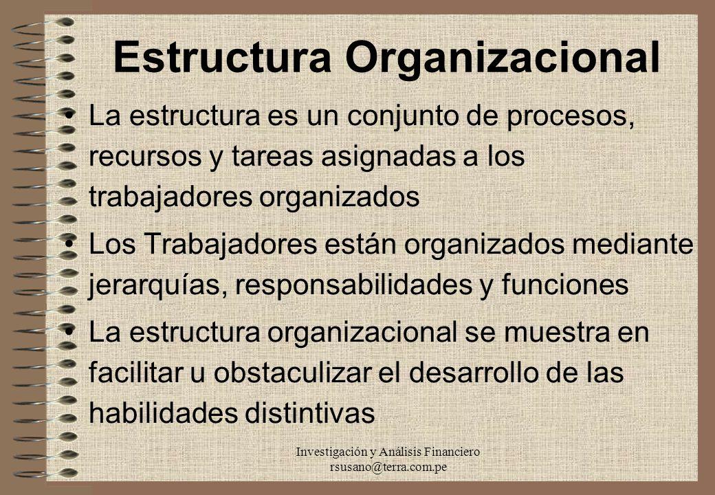 Investigación y Análisis Financiero rsusano@terra.com.pe Estructura Organizacional La estructura es un conjunto de procesos, recursos y tareas asignad