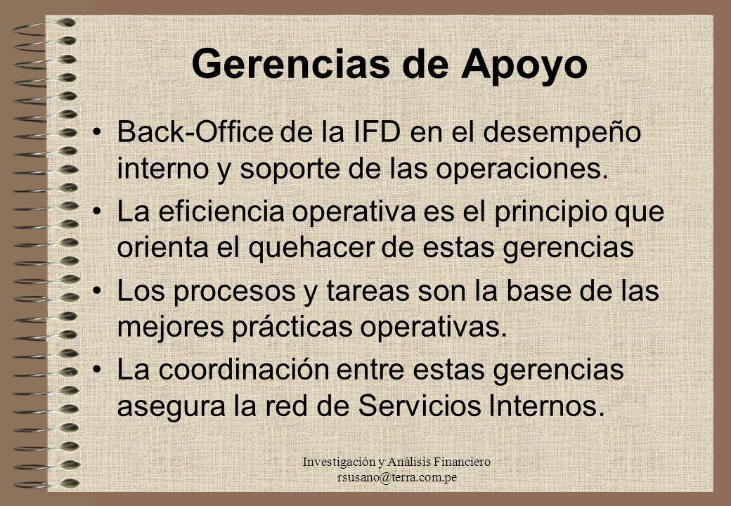 Investigación y Análisis Financiero rsusano@terra.com.pe Gerencias de Apoyo Back-Office de la IFD en el desempeño interno y soporte de las operaciones