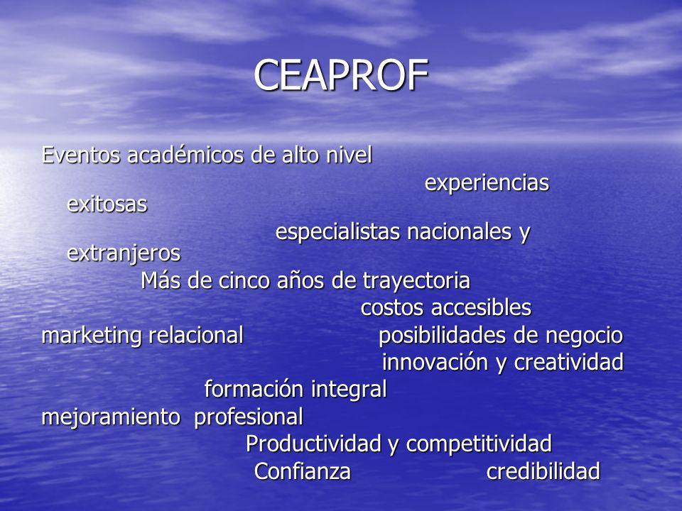 CEAPROF Eventos académicos de alto nivel experiencias exitosas experiencias exitosas especialistas nacionales y extranjeros especialistas nacionales y