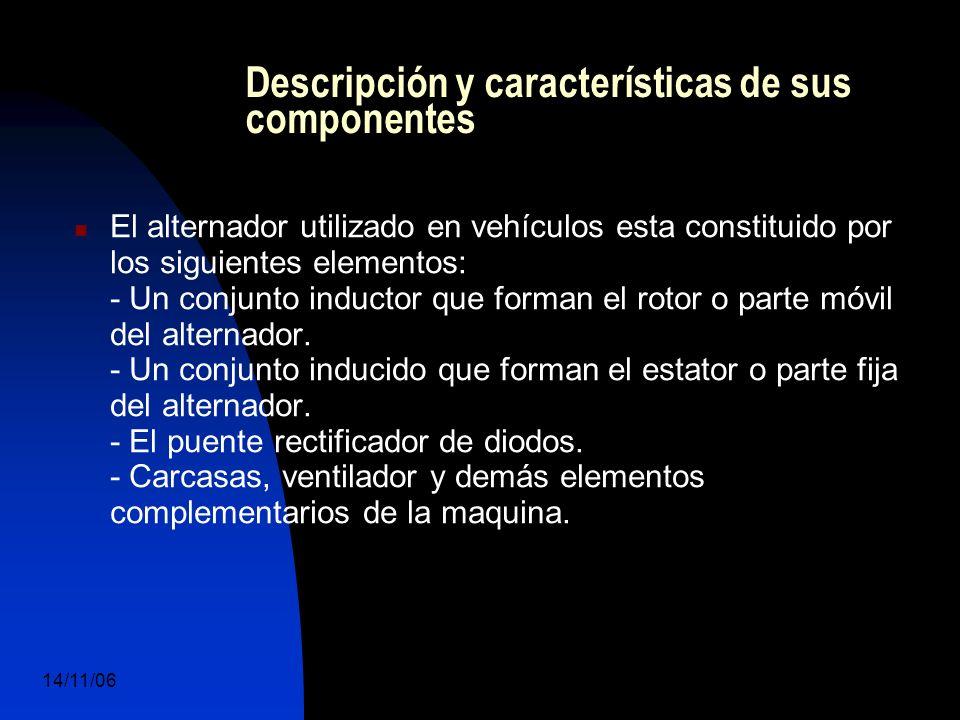 14/11/06 DuocUc, Ingenería Mecánica Automotriz y Autotrónica 15 Descripción y características de sus componentes El alternador utilizado en vehículos esta constituido por los siguientes elementos: - Un conjunto inductor que forman el rotor o parte móvil del alternador.