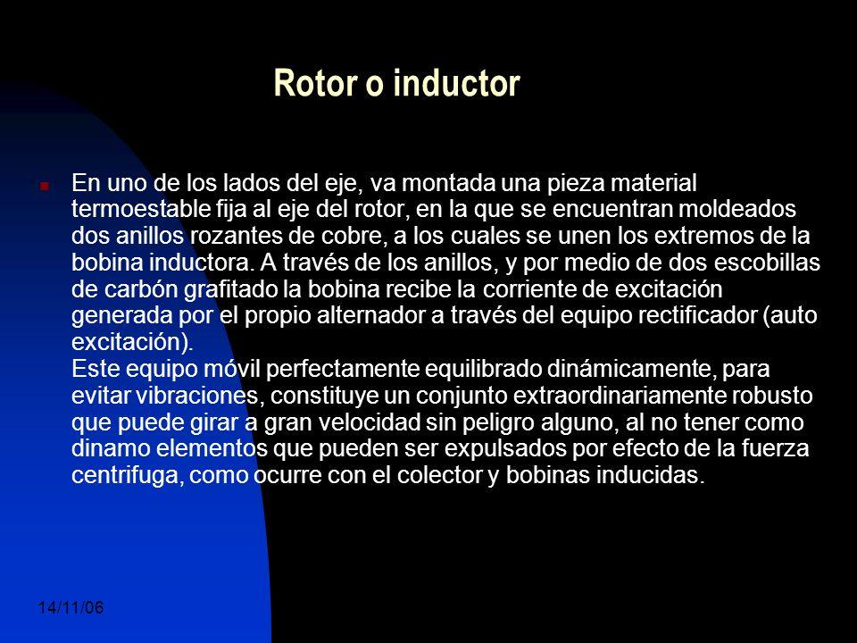 14/11/06 DuocUc, Ingenería Mecánica Automotriz y Autotrónica 19 En uno de los lados del eje, va montada una pieza material termoestable fija al eje del rotor, en la que se encuentran moldeados dos anillos rozantes de cobre, a los cuales se unen los extremos de la bobina inductora.
