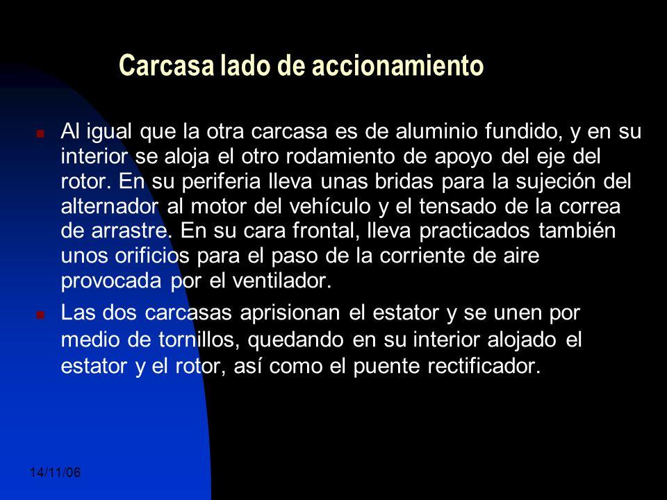 14/11/06 DuocUc, Ingenería Mecánica Automotriz y Autotrónica 31 Carcasa lado de accionamiento Al igual que la otra carcasa es de aluminio fundido, y en su interior se aloja el otro rodamiento de apoyo del eje del rotor.