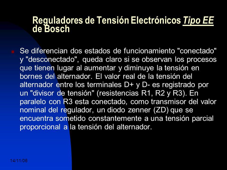 14/11/06 DuocUc, Ingenería Mecánica Automotriz y Autotrónica 49 Reguladores de Tensión Electrónicos Tipo EE de Bosch Se diferencian dos estados de funcionamiento conectado y desconectado , queda claro si se observan los procesos que tienen lugar al aumentar y diminuye la tensión en bornes del alternador.