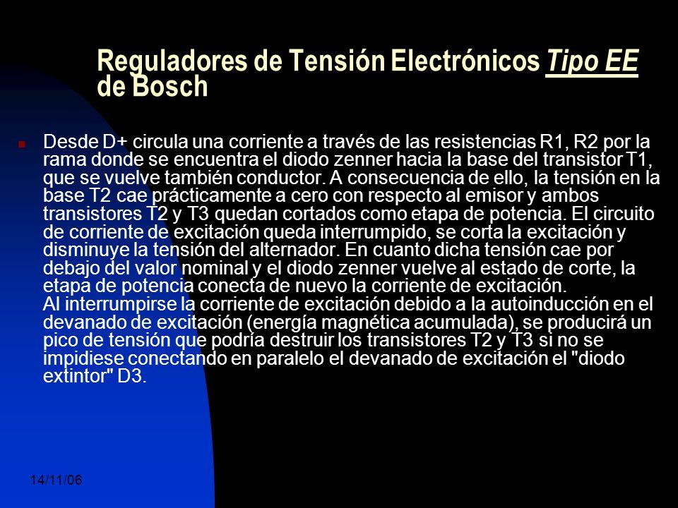 14/11/06 DuocUc, Ingenería Mecánica Automotriz y Autotrónica 52 Desde D+ circula una corriente a través de las resistencias R1, R2 por la rama donde se encuentra el diodo zenner hacia la base del transistor T1, que se vuelve también conductor.