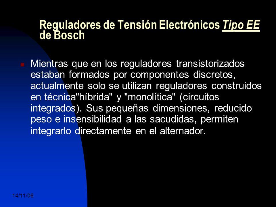 14/11/06 DuocUc, Ingenería Mecánica Automotriz y Autotrónica 54 Mientras que en los reguladores transistorizados estaban formados por componentes discretos, actualmente solo se utilizan reguladores construidos en técnica híbrida y monolítica (circuitos integrados).