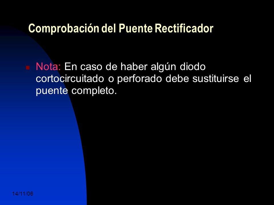 14/11/06 DuocUc, Ingenería Mecánica Automotriz y Autotrónica 72 Nota: En caso de haber algún diodo cortocircuitado o perforado debe sustituirse el puente completo.