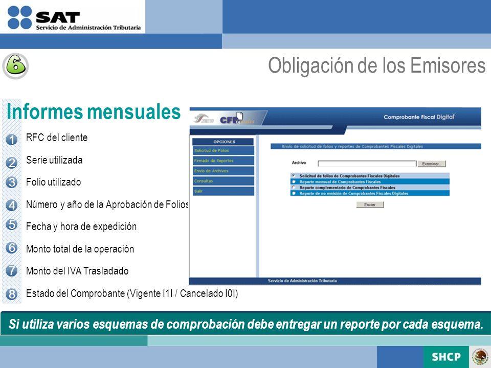 Si utiliza varios esquemas de comprobación debe entregar un reporte por cada esquema. Informes mensuales 1 2 3 5 4 6 7 8 RFC del cliente Serie utiliza