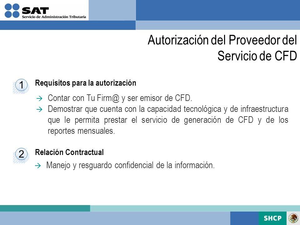 Requisitos para la autorización Relación Contractual 1 1 Contar con Tu Firm@ y ser emisor de CFD. Demostrar que cuenta con la capacidad tecnológica y