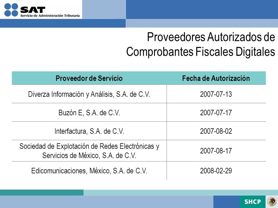 Proveedores Autorizados de Comprobantes Fiscales Digitales Proveedor de ServicioFecha de Autorización Diverza Información y Análisis, S.A. de C.V.2007