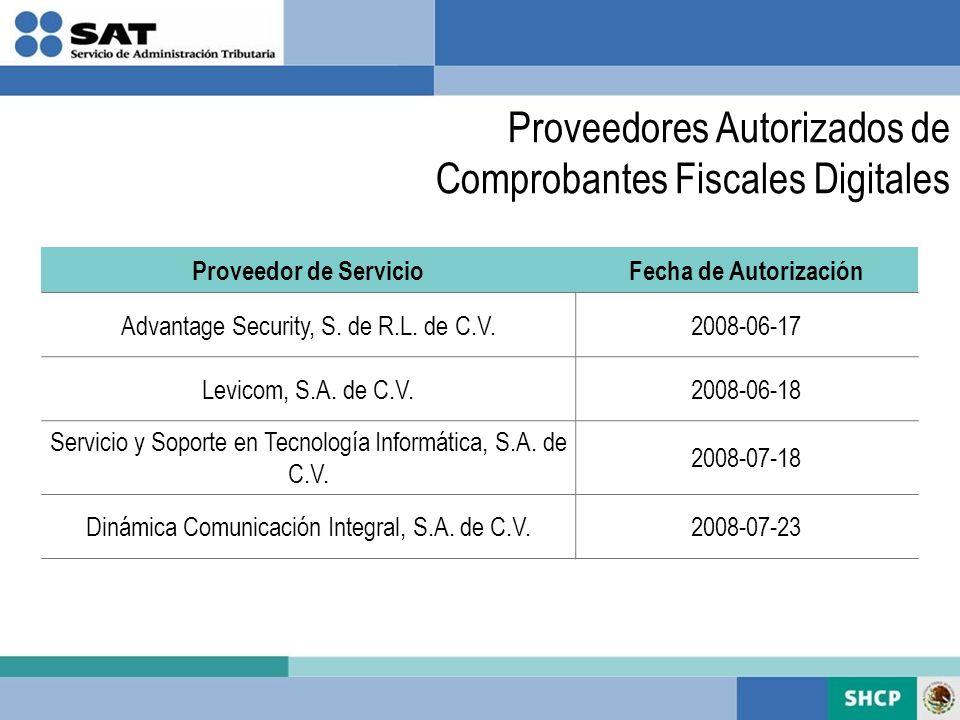 Proveedores Autorizados de Comprobantes Fiscales Digitales Proveedor de ServicioFecha de Autorización Advantage Security, S. de R.L. de C.V.2008-06-17