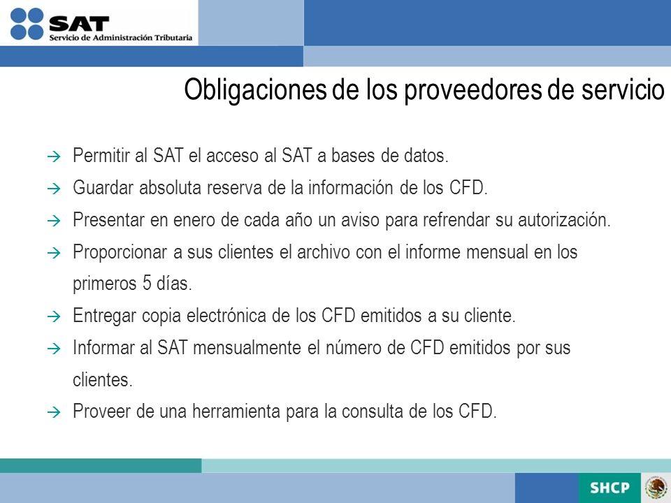 Obligaciones de los proveedores de servicio Permitir al SAT el acceso al SAT a bases de datos. Guardar absoluta reserva de la información de los CFD.