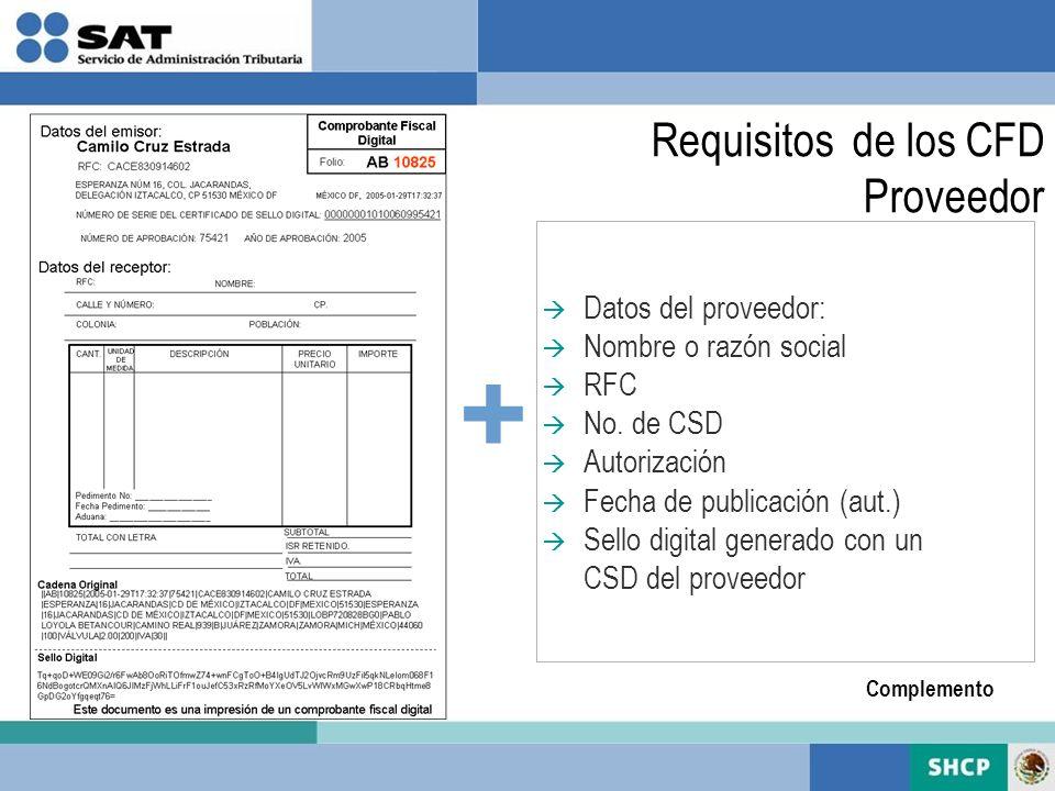 + Datos del proveedor: Nombre o razón social RFC No. de CSD Autorización Fecha de publicación (aut.) Sello digital generado con un CSD del proveedor C