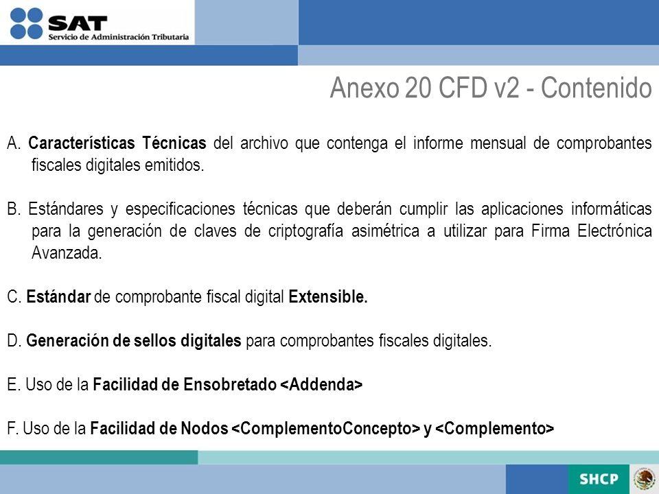 A. Características Técnicas del archivo que contenga el informe mensual de comprobantes fiscales digitales emitidos. B. Estándares y especificaciones