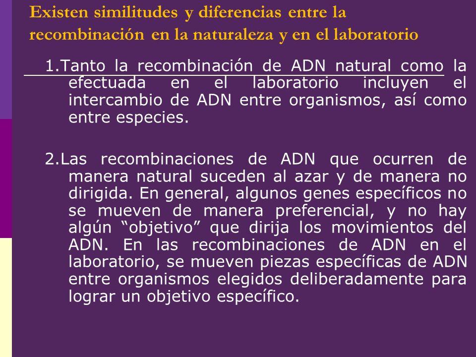 Existen similitudes y diferencias entre la recombinación en la naturaleza y en el laboratorio 1.Tanto la recombinación de ADN natural como la efectuad