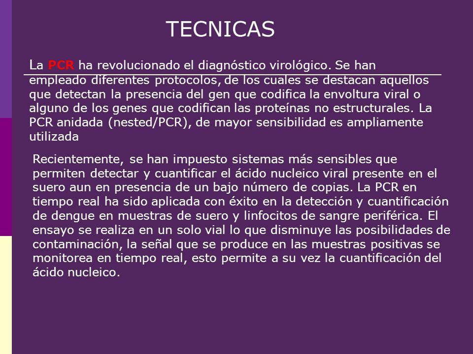 TECNICAS R ecientemente, se han impuesto sistemas más sensibles que permiten detectar y cuantificar el ácido nucleico viral presente en el suero aun e