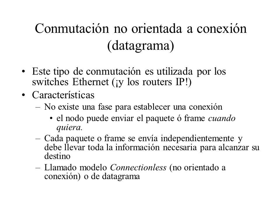 Conmutación no orientada a conexión (datagrama) Este tipo de conmutación es utilizada por los switches Ethernet (¡y los routers IP!) Características –