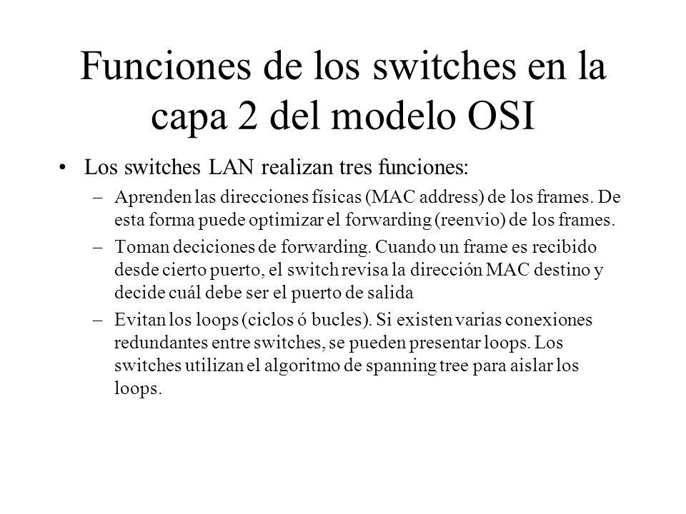Funciones de los switches en la capa 2 del modelo OSI Los switches LAN realizan tres funciones: –Aprenden las direcciones físicas (MAC address) de los