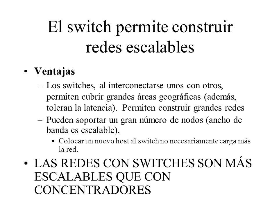 El switch permite construir redes escalables Ventajas –Los switches, al interconectarse unos con otros, permiten cubrir grandes áreas geográficas (ade
