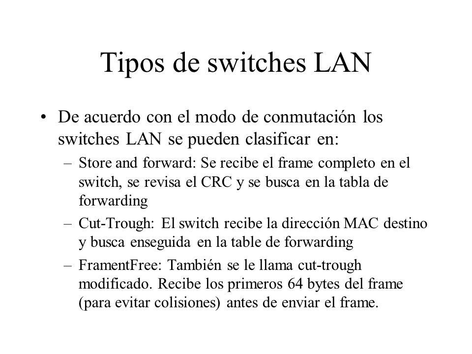 Tipos de switches LAN De acuerdo con el modo de conmutación los switches LAN se pueden clasificar en: –Store and forward: Se recibe el frame completo